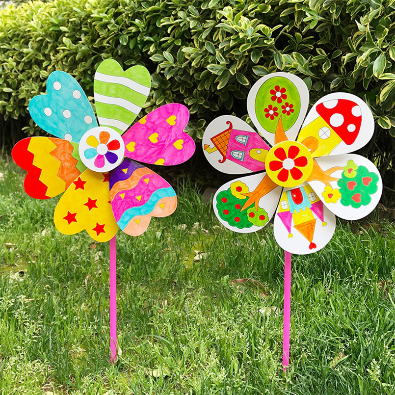 4Pcs/set Cartoon DIY Graffiti Windmill Fill-color Drawing Toy Kids Handmade Paper Wind Spinner Painting Toys For Children Girls