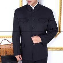 Мужская однобортная куртка туника китайский Блейзер тонкая черная