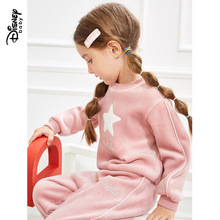 Disney Mickey Minnie Childrens Sports Sweater Two-piece New Child Velvet Set Pink Girl Long Sleeve Sweatshirt
