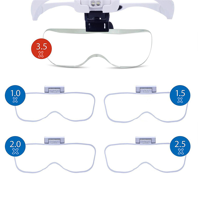 Microblading Headband Magnification Goggles Magnifying Glasses with LED Light and 5 set lenses For Embroidery permanent makeup 1