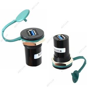 Image 3 - 22mm de diâmetro de montagem USB 2.0 USB 3.0 USB Tipo B Tomada Conversor 22mm USB conector de montagem em Painel com tampa protetora contra poeira