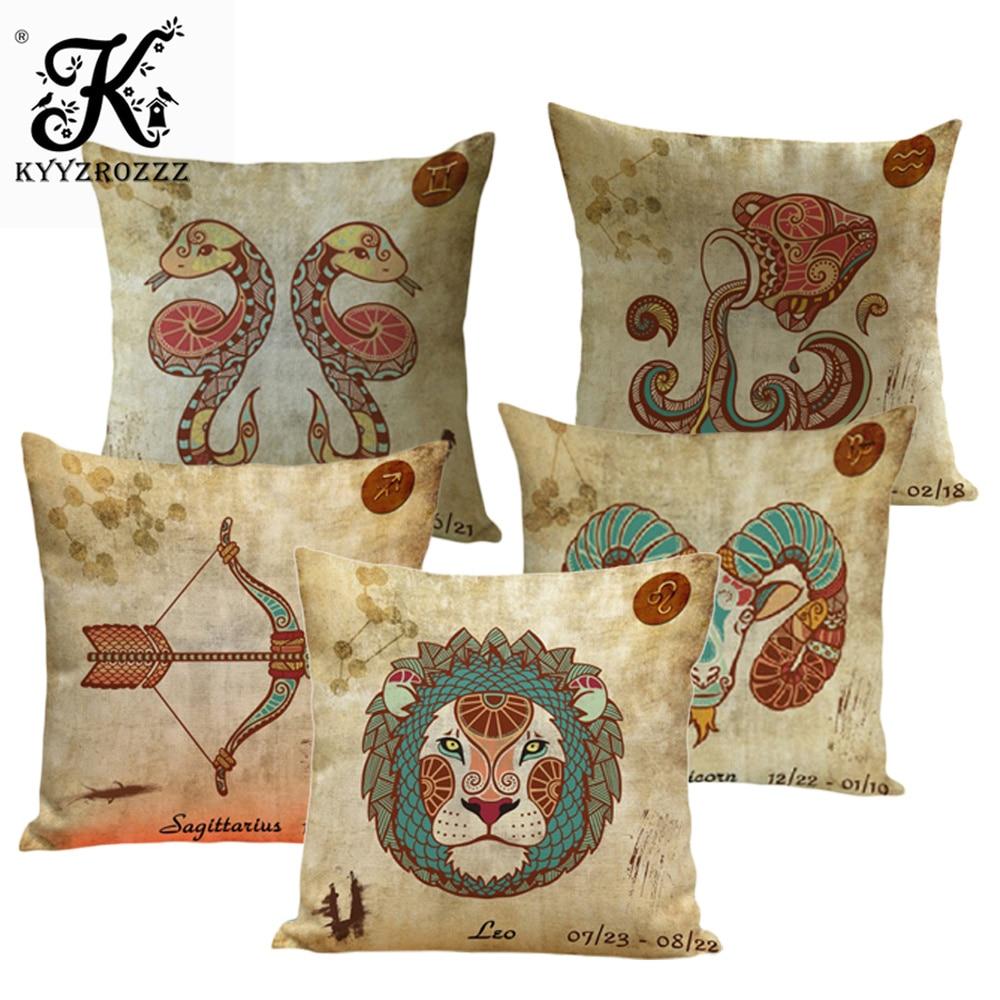 Vintage 12 Signs Zodiac Capricorn Aquarius Pisces Decorative Coffee Shop Decorative Pillow Covers Sofa(China)