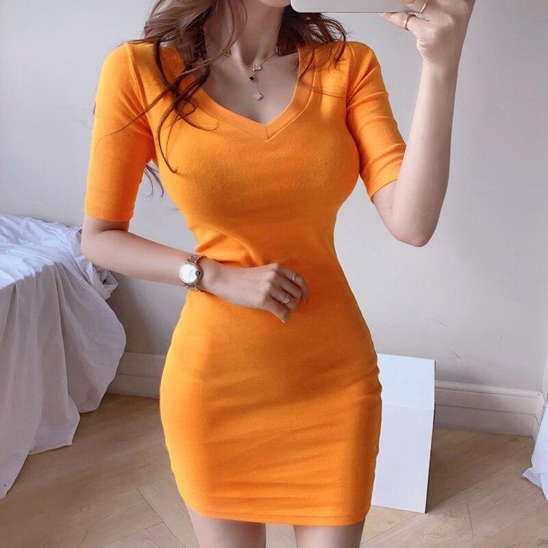 Summer 2020 new Korean temperament V-neck slim knit bag hip bottom casual dress Office Lady  Knee-Length