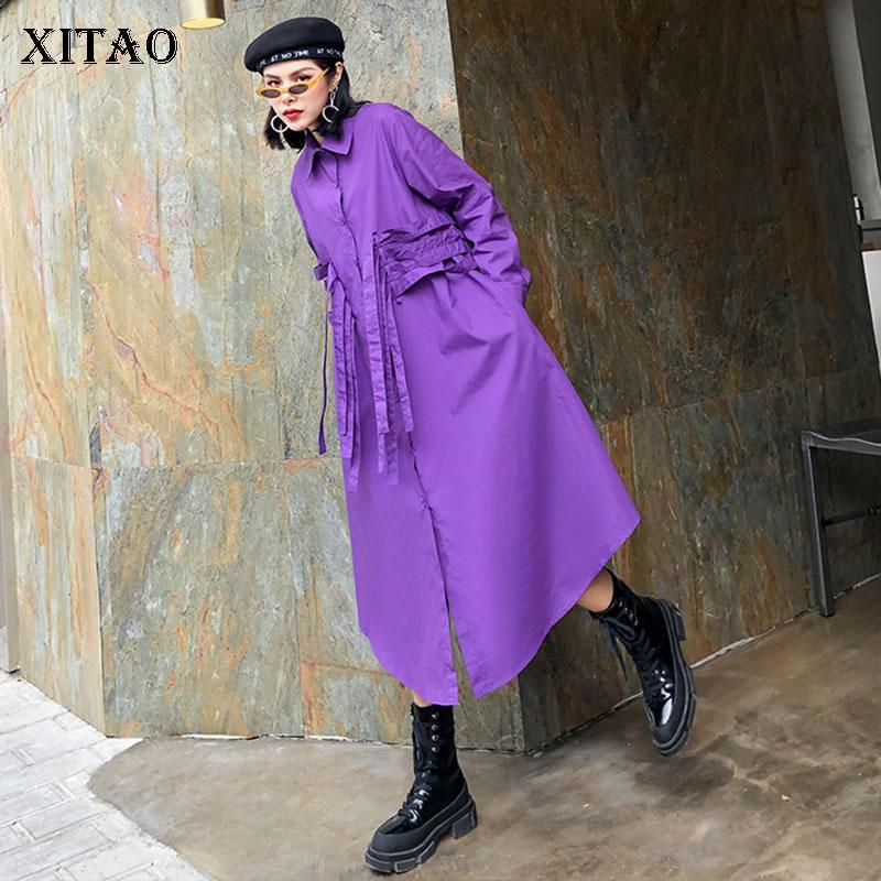 XITAO Drawstring Plus Size Dress Fashion New Women 2020 Spring Elegant Bandage Irregular Small Fresh Casual Dress DMY3365