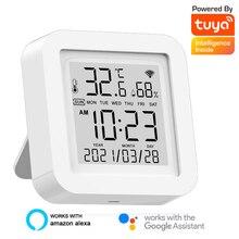 WIFI sıcaklık nem sensörü Tuya akıllı dijital termometre higrometre zaman tarih LCD ekran dedektörü akıllı ev masa saati