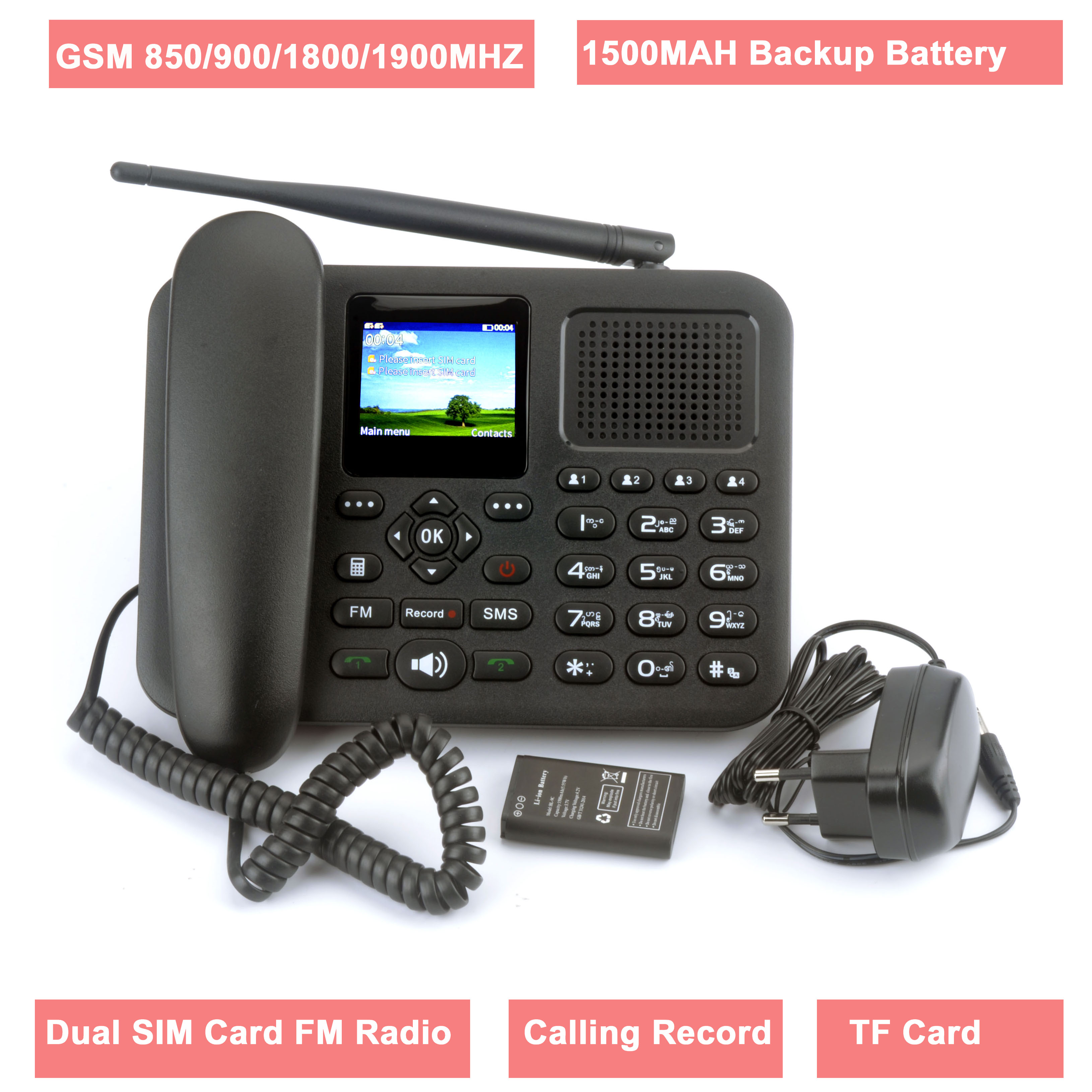 GSM fixed wireless Phone with Colorful LCD dual sim card Calling Record FM Radio Multi Language
