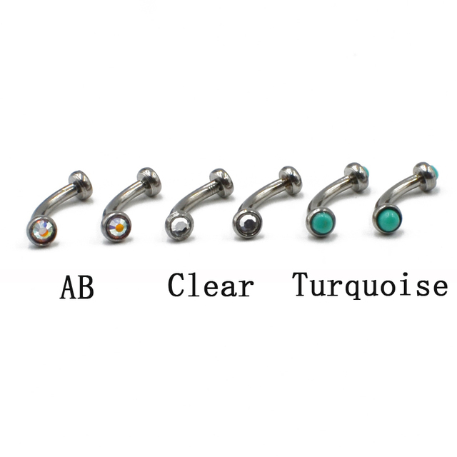 316l Surgical Steel Internally Thread Eyebrow Ring Cartilage Tragus Earring With Flat CZ Piercing Jewelry