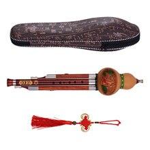 Flûte en bois massif, 3 tons, clé en C, Hulusi gourde, Cucurbit, instruments traditionnels chinois avec étui de transport à nœud chinois