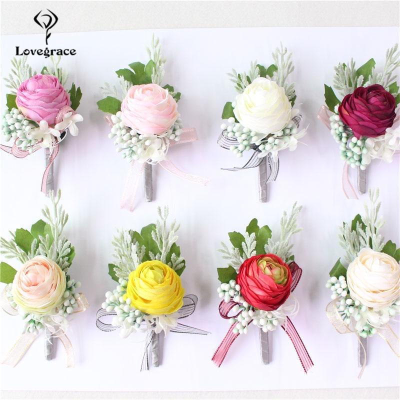 Lovegrace Men Corsage Bridal Wrist Corsages Groom Boutonniere Pin Champagne Burgundy Bridesmaid Bracelet Wedding Flower Supplies