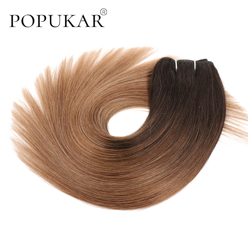 Popukar Straight Human Hair Weft 14Inch 22Inch Three Tone Color 1b/6/27 Ombre Human Hair Weave Cheap Remy Vietnamese Hair