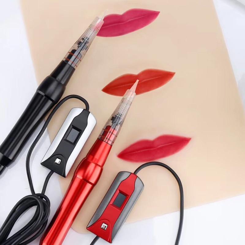 1pc Microblading Machine Pen with Needles Professional Digital Tattoo Gun Machine for Semi Permanent Makeup Tattoo Eyebrow Lip