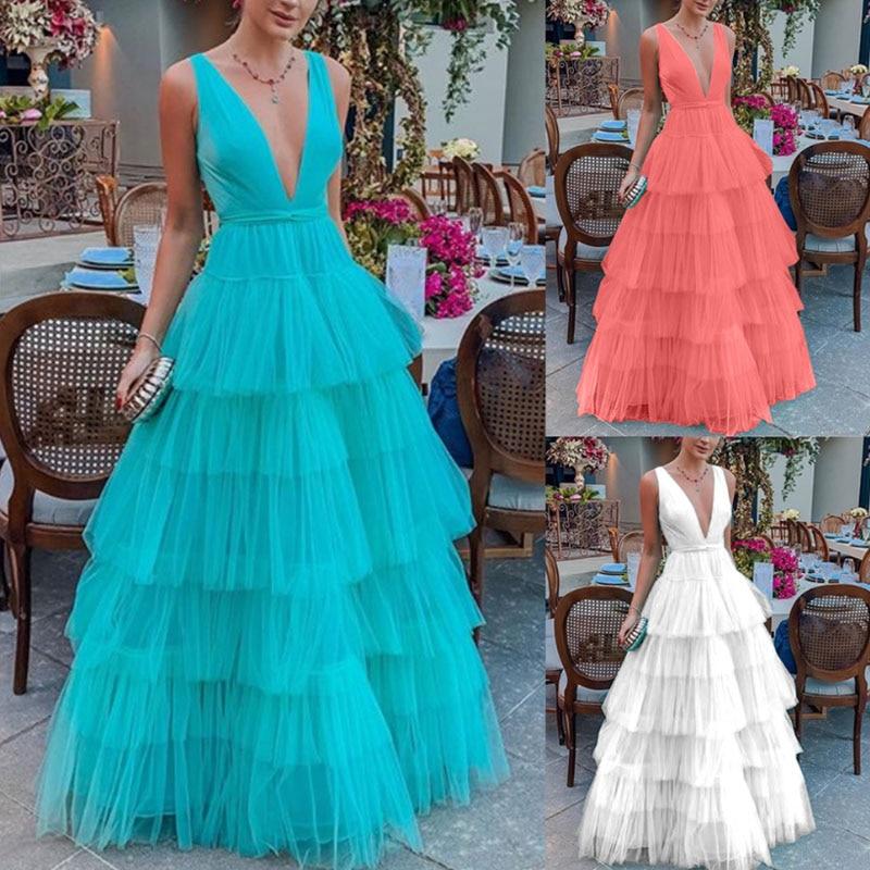 Vana Javeasen Summer Cascading Ruffle Women Dress High Waist Off-The-Shoulder Party Dress Pullover V-Neck Long Dresses Womens