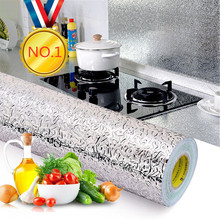 40x100cm Kitchen Oil proof Waterproof Stickers Aluminum Foil Kitchen Stove Cabinet Self Adhesive Wall Sticker DIY Wallpaper