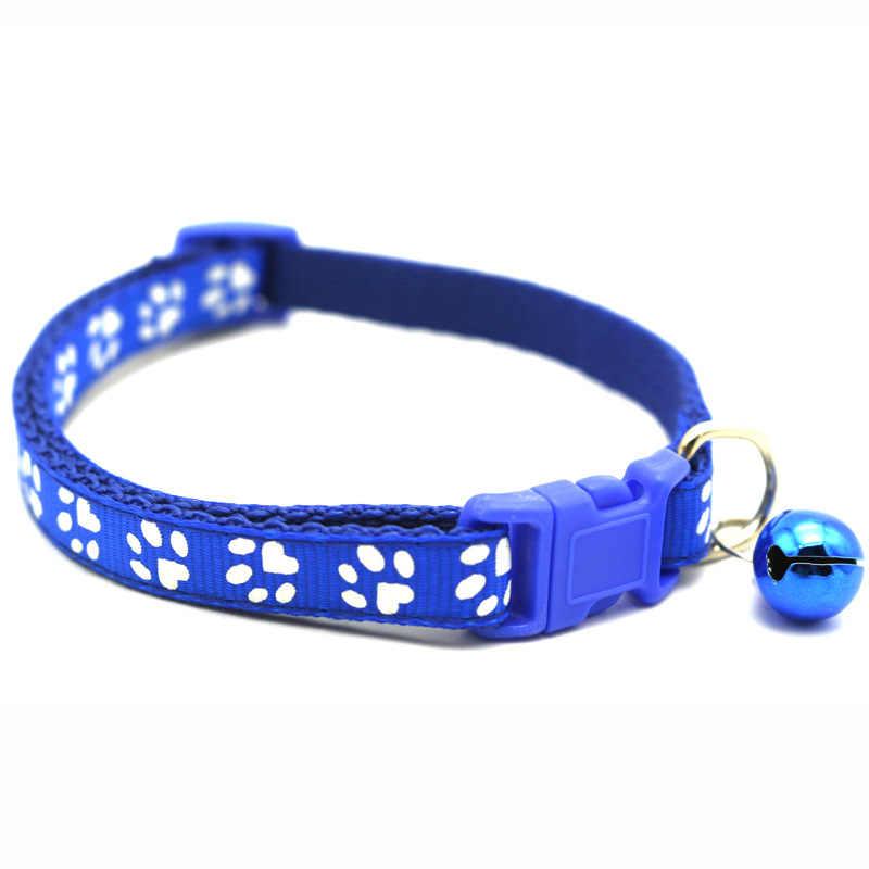 Animal de compagnie chat cloche collier chien jouet plusieurs couleurs Nylon empreinte boucle sécurité rupture réglable pour chatons chiot cou sangle