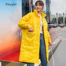 معطف نسائي طويل شتوي من Fitaylor معطف أبيض فائق الخفة مع بطة للأسفل سترة فضفاضة كاجول ملابس نسائية دافئة للخروج