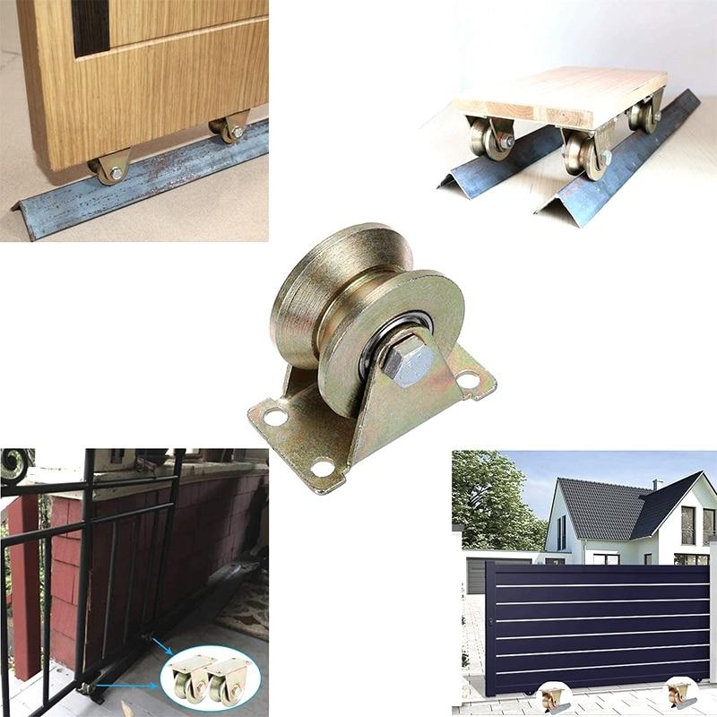 2Pcs 2 Inch V-Groove Wheel Heavy Rigid Caster Sliding Door Roller For Sliding Door Industrial MachinesWire Rope Rail