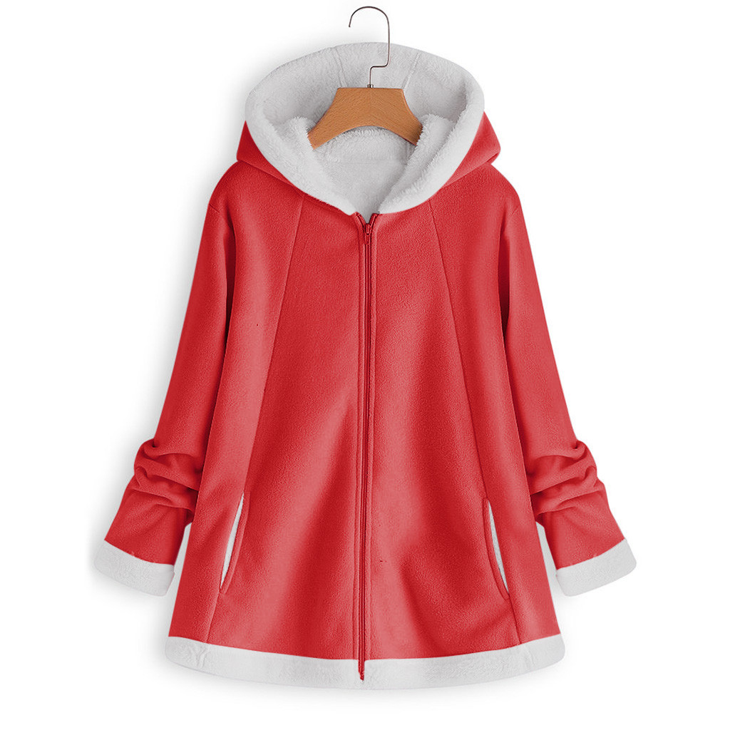 Haf331dc7496e42b18453c98661bc385aK women's autumn jacket Winter warm solid Plush Hoodie Coat Fashion Pocket Zipper Long Sleeves outwear manteau femme plus size 5XL