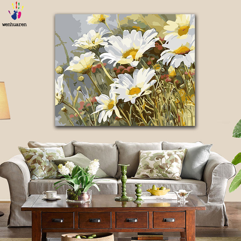 DIY Colorings Pictures By Numbers With Colors White Daisy Flower Sea Iris Flower Picture Drawing Painting By Numbers Framed Home