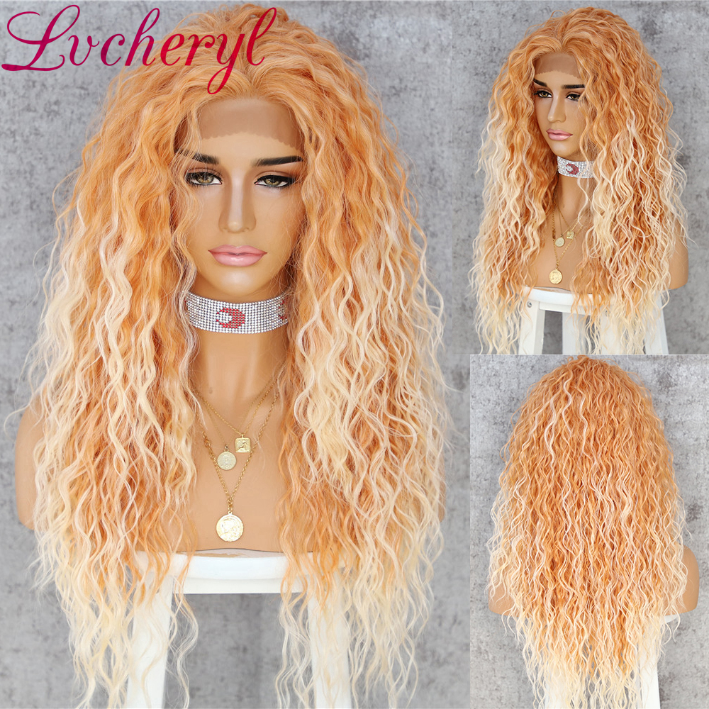 Lvcheryl Curly Synthetic Lace Front Wigs Orange Mixed 60# Colorful Hand Tied Heat Resistant Hair Wigs For Women
