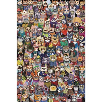 Michelangelo Wooden Jigsaw Puzzle Cats Group Photo 1000 Pieces 2000 Pieces Children's Gift