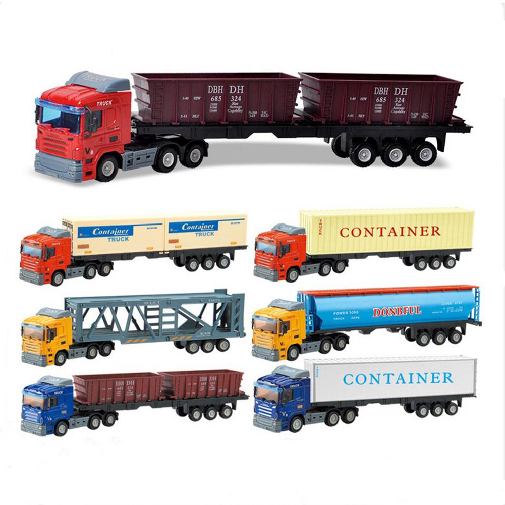 Kuulee Inertial Container Trailer Truck Toys 1:64 Alloy Container Car Model Pull Back Car Toy For Gift Collection Toy Car