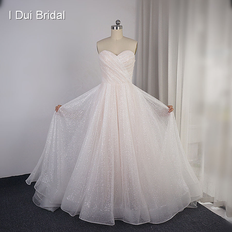 Sparkle Wedding Dresses Sweetheart Shinny Skirt Layers Bridal Gown 2019 New Custom Made