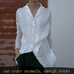 LANMREM 2020 New Spring Lapel Single Breasted Solid Color Pleated Shirt Women Streetwear Slim Loose Simple Popular Tops PD818