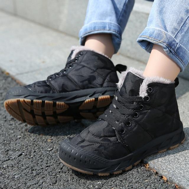 Children Winter Shoes Boys Warm Plush Fur Sneakers For Girls Fashion Waterproof Sport Kids Running Shoes Non slip Snow Footwear