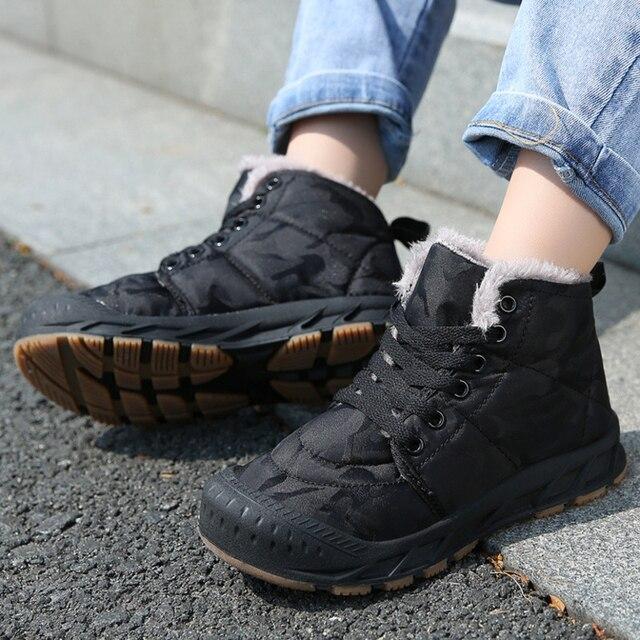 Çocuk kış ayakkabı erkek sıcak peluş kürk Sneakers kızlar için moda su geçirmez spor çocuk koşu ayakkabıları kaymaz kar ayakkabı