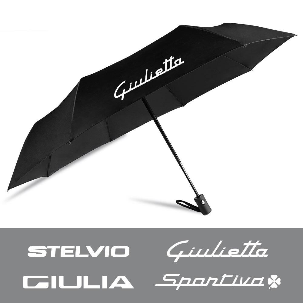 Guarda-chuva dobrável compacto totalmente automático para alfa romeo giulia 147 156 mito stelvio sportiva giulietta cor preta tamanho grande