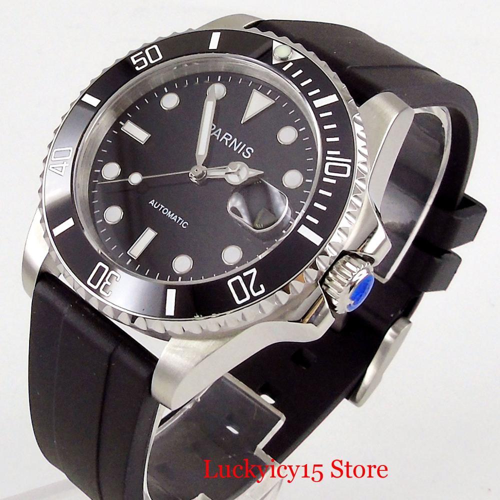 Parnis estilo de negócios prata 40mm relógio automático men sapphire vidro rotativo moldura mingzhu movimento cinta borracha - 4