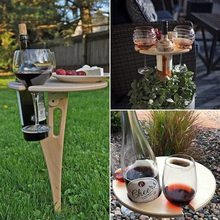 New Portable Outdoor Wine Table Picnic Table Wine Glass Holder Foldable Wooden Round Table Outdoor Furniture
