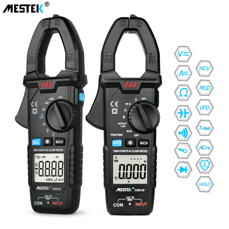 MESTEK Digital Clamp Meter 600A AC Current AC/<font><b>DC</b></font> Voltage Ohm True RMS Auto Range VFD Capacitance NCV digital ammeter voltmeter image