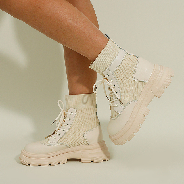Soft Leather Nude Boots Women's New Casual  Shoes  3