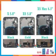 Aaa qualidade para o iphone x/xs/xs max volta chassi quadro médio completo habitação capa assembléia bateria capa de vidro com cabo flexível