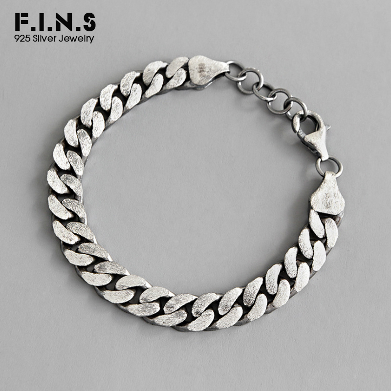 F.I.N.S S925 Sterling Silver Bracelet Retro Brushed Chain Link Bracelet Personality Classic Thick Chain For Women's Decoration