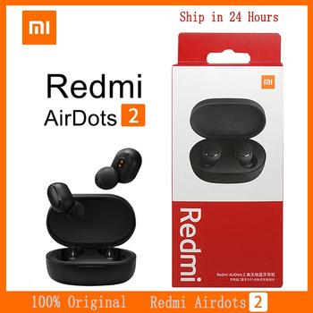 Oryginalny Xiaomi Redmi AirDots 2 TWS Bluetooth 5 0 redukcja szumów z mikrofonem AI Control Redmi AirDots 2 prawdziwy bezprzewodowy zestaw słuchawkowy tanie i dobre opinie Kapsułka douszne NONE Inne CN (pochodzenie) Prawdziwie bezprzewodowe Zwykłe słuchawki do telefonu komórkowego Sport