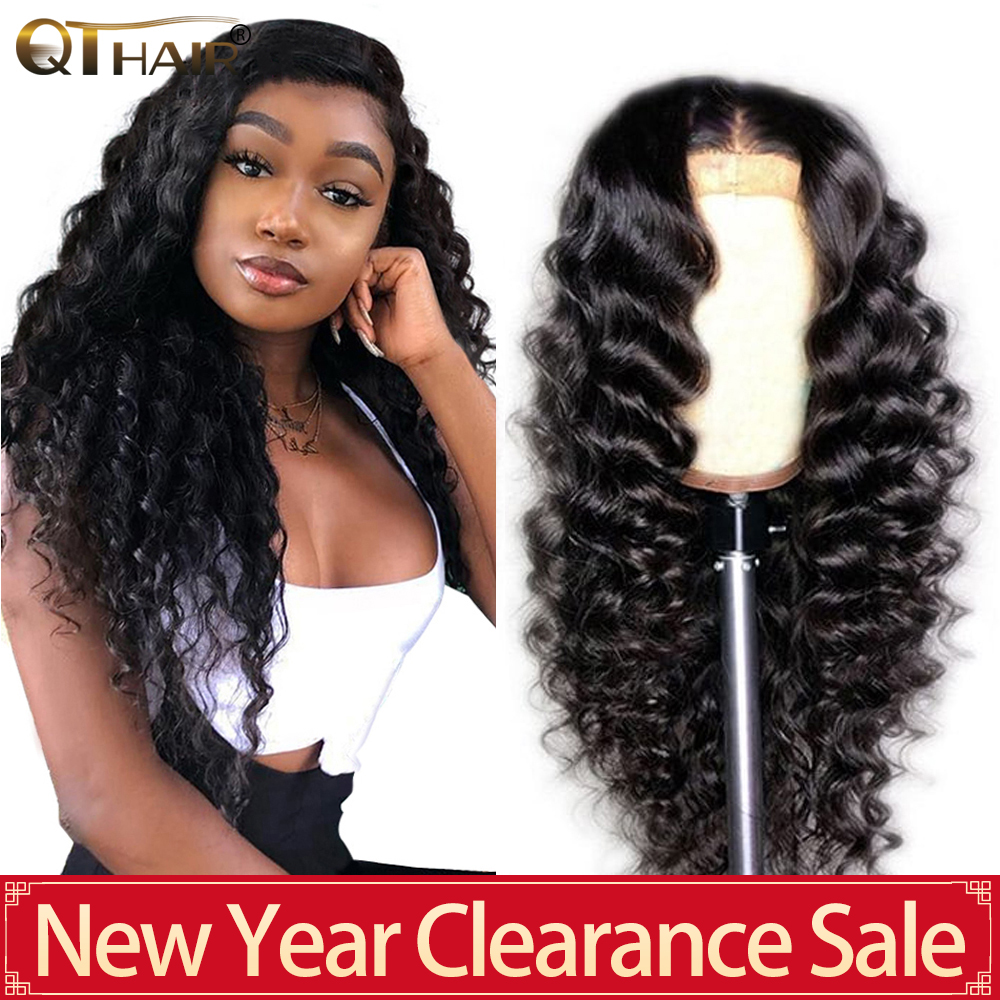 QT 4*4 Lace Closure Wig Human Hair Wigs Brazilian Loose Deep Wave for Black Women Pre-Plucked Lace Front Human Hair Wigs