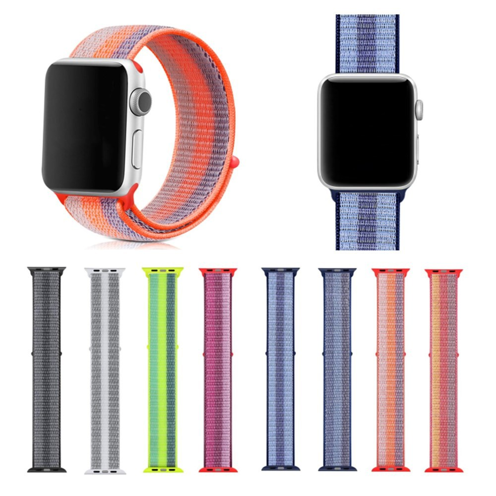 Suitable For AppleWatch Smart Watch One Two Three Generation Color Vertical Striped Nylon Loop Weaving Watch Strap