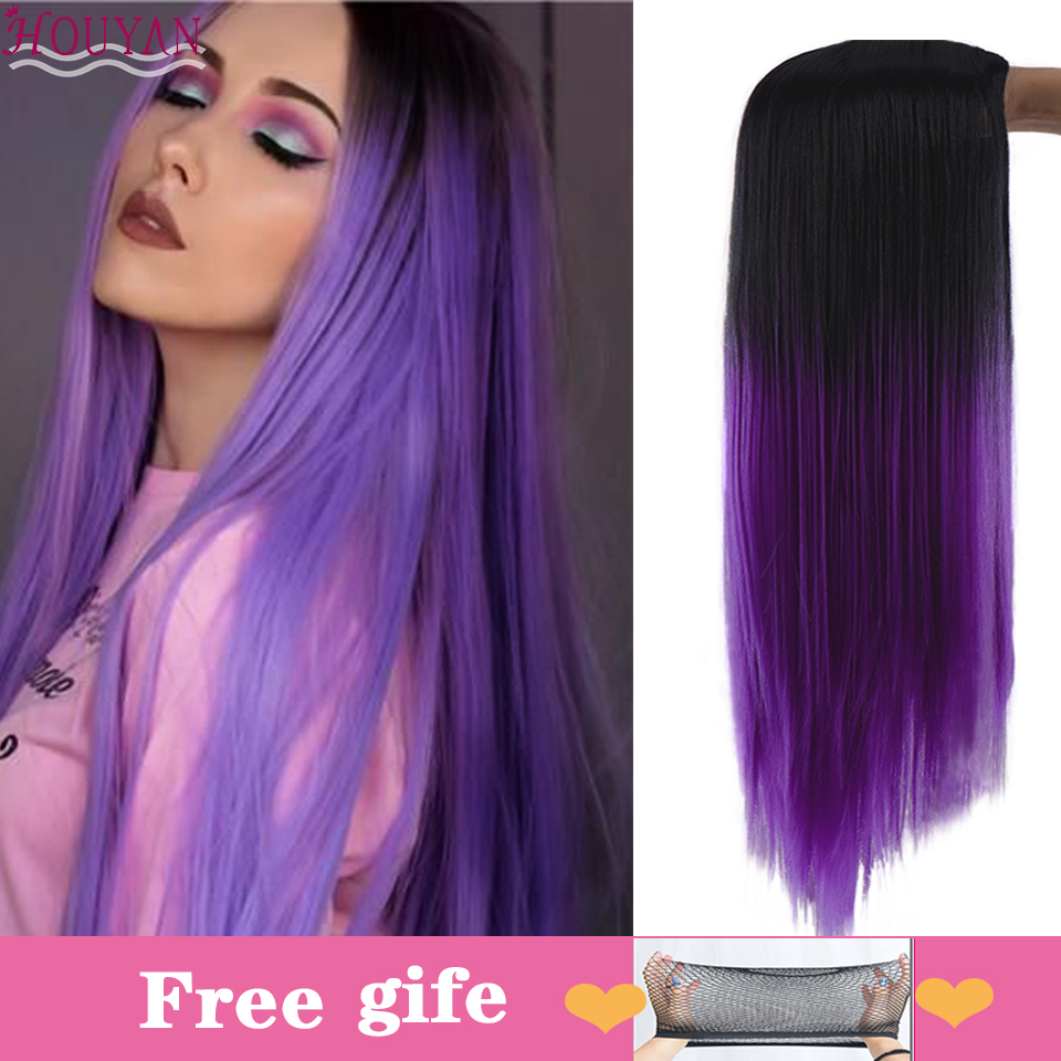 HOUYAN 26 Inch Long Straight Hair Synthetic Wig Obel Purple Blue Pink Brown Red Lady Cosplay Wig