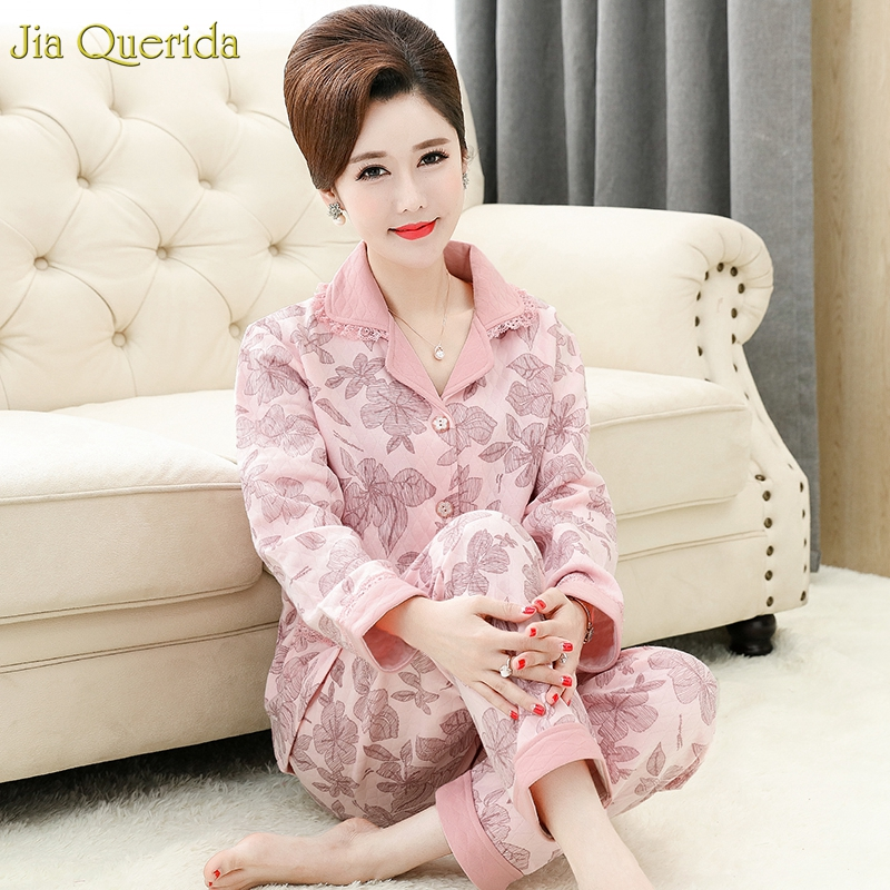 Pyjamas Women Winter Warm Cotton Lingerie Plus Size Adult Pink Floral Printing Pajamas Cardigan Button Pocket Cotton Sleepwear