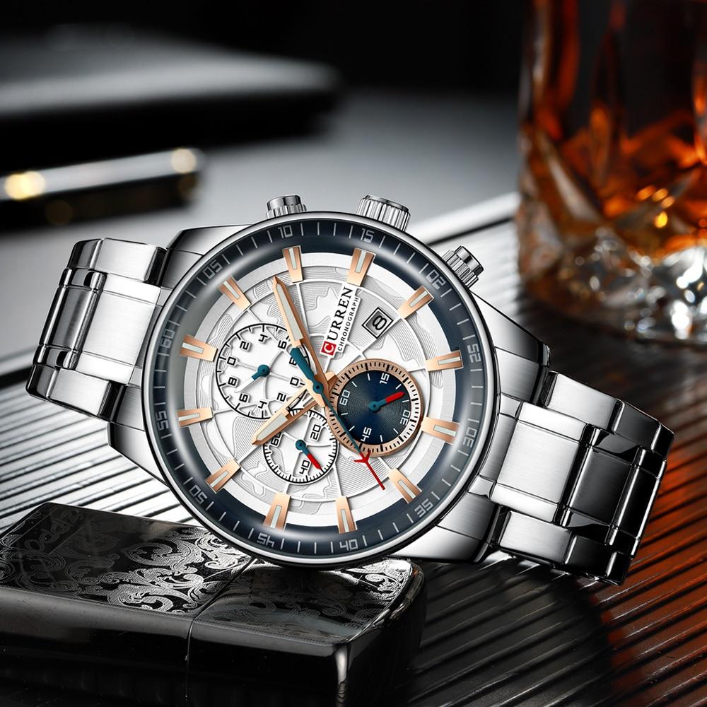 Image 3 - Mens Watches CURREN New Fashion Stainless Steel Top Brand Luxury Multi function Chronograph Quartz Wristwatch Relogio MasculinoQuartz Watches   -