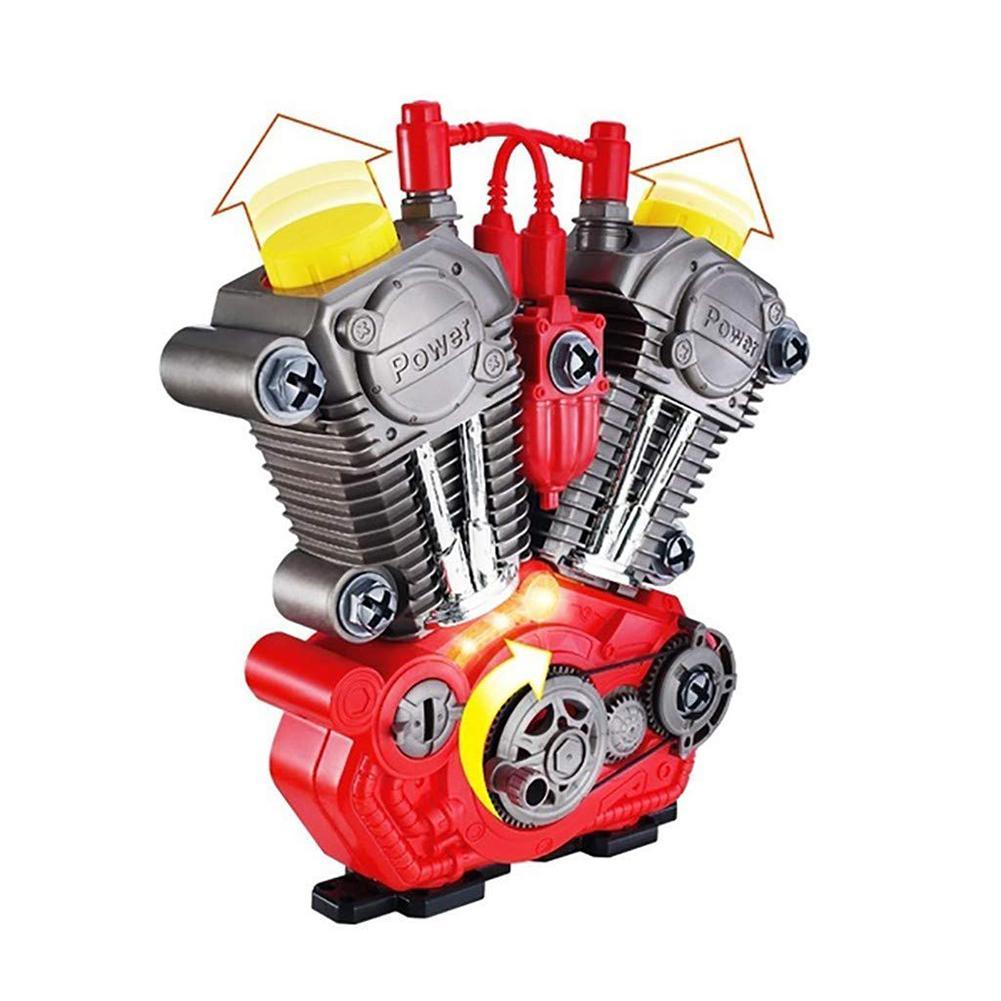 Simular a revisão do motor da motocicleta jogo conjunto com som de luz diy montagem kit mecânico crianças brinquedo educacional presente