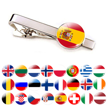 Europe Countries National Flag Tie Clips Men Fashion Silver Metal Bar Clip Spain UK France Italy Poland Pins
