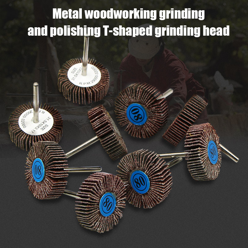 80 Grits Flap Sanding Wheel Head Grinding Disc T-shaped Grinding Head For Metal Woodwork Polishing Rotating Tool VJ-Drop