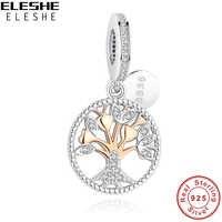 ELESHE Authentische 925 Sterling Silber Familie Baum Des Lebens Charme Gold Bead Fit Original Pandora Charm Armband Anhänger DIY Schmuck