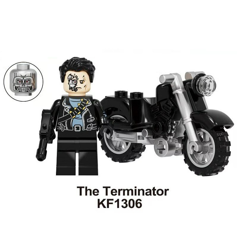 Building Blocks Super Heroes The Terminator With Motorcycle Deadpool T800 Plastic Figures For Children Education Toys KF1306