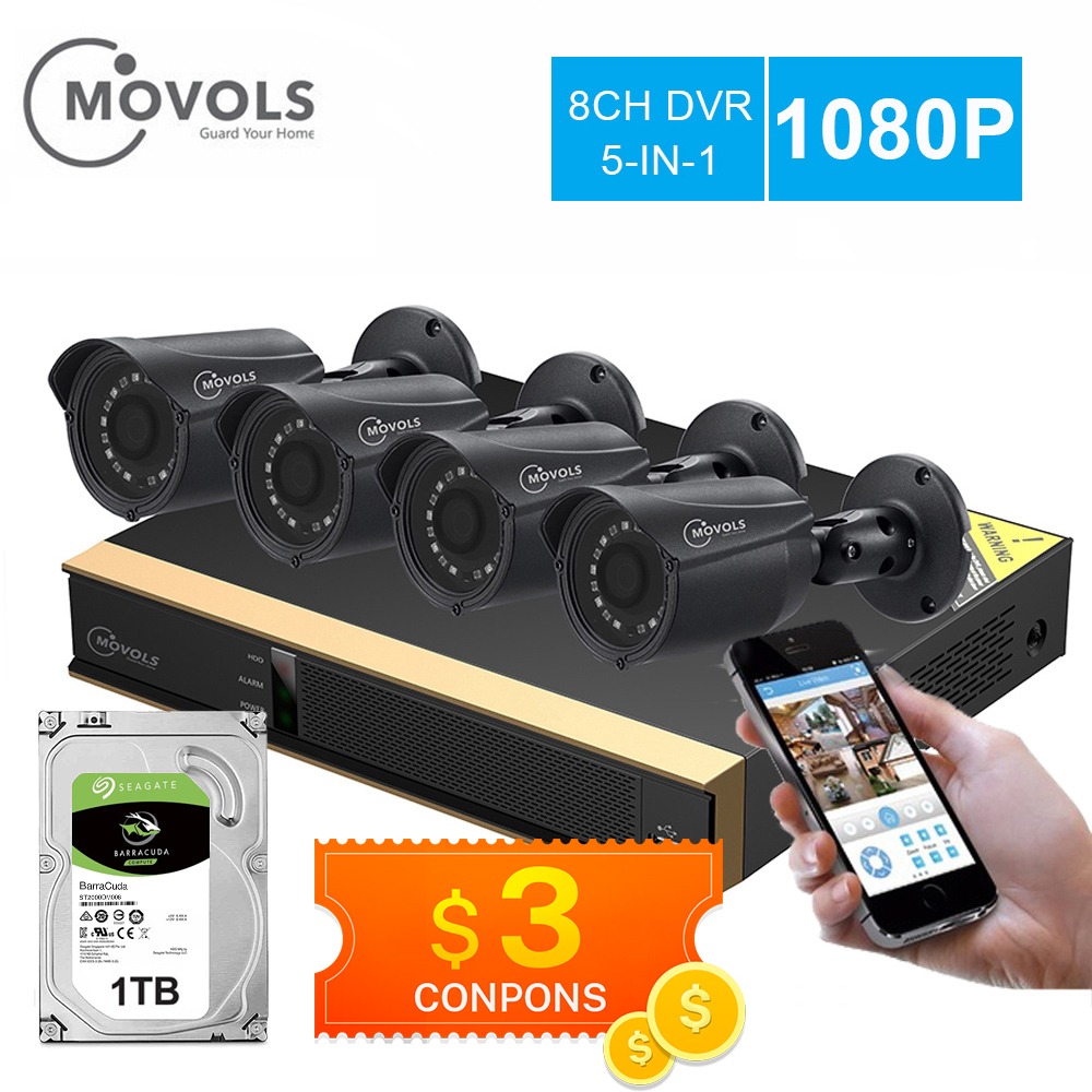 Movols 8CH CCTV Camera System 4PCS 1080p Outdoor Weatherproof Security Camera DVR Kit Day/Night Home Video Surveillance System