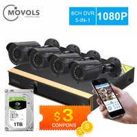 Movols 8CH system kamer cctv 4 sztuk 1080p na zewnątrz wodoodporna kamera monitoringu zestaw dvr dzień/noc wideo z domu system nadzoru
