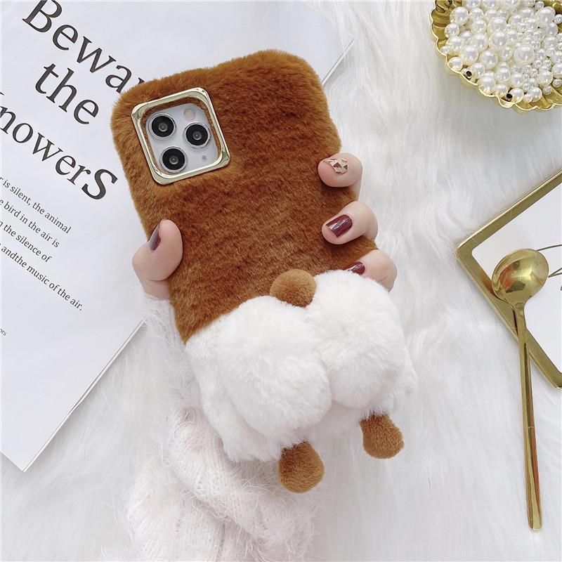 Cute Warm Fuzzy Dog Butt Phone Case For iPhone 12 Mini